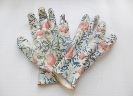 Перчатки нейлоновые Садовые (цветы)