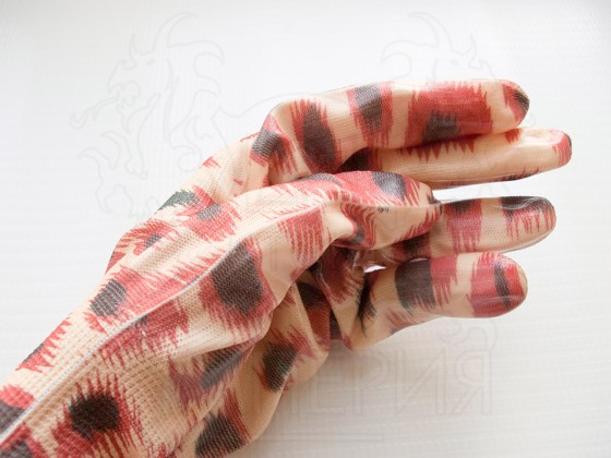 Перчатки нейлоновые Садовые (леопард)