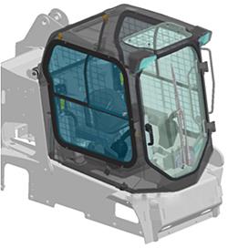 Противоударное лобовое стекло на погрузчик Bobcat S530 (плоское)